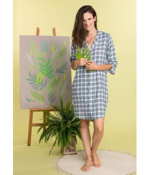 Женская ночная сорочка KEY LND-470 A20 S черно-зеленая