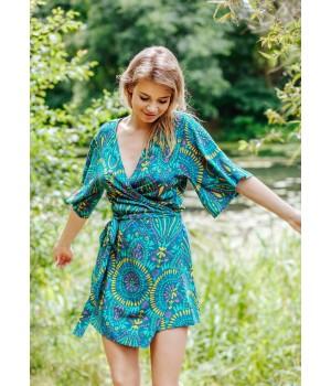 Женское короткое платье-конверт с поясом Key LHD 905 A20