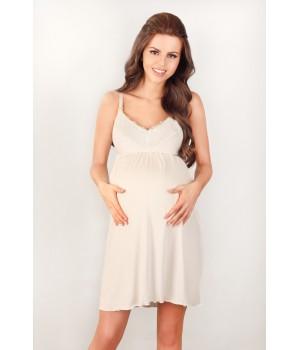 Ночная сорочка на тонких бретелях для беременных и кормящих мам Lupoline 3022