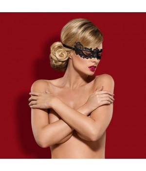 Эффектная черная кружевная маска Obsessive A701