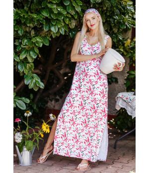 Женское длинное домашнее платье с разрезами Key LHD 505 A20