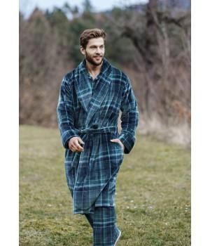 Мужской теплый фланелевый халат Key MGL 048