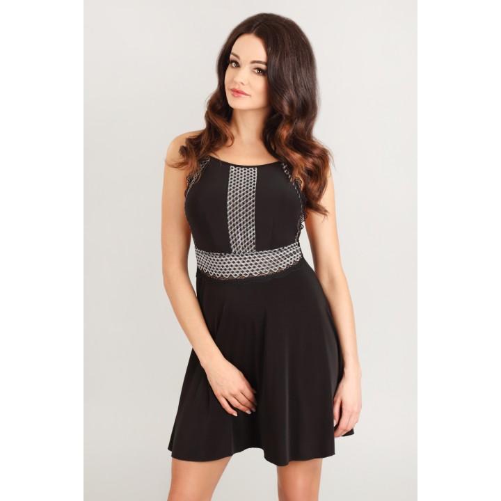 Женская ночная сорочка/платье с серебристым кружевом Lupoline 1812