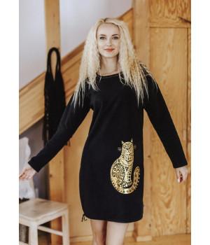 Женское теплое домашнее платье с золотистым котиком Key LHD 742 B19