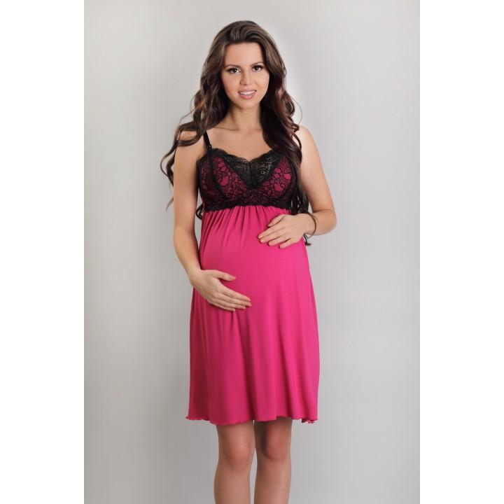 Ночная сорочка цвета амарант для беременных женщин Lupoline 3068