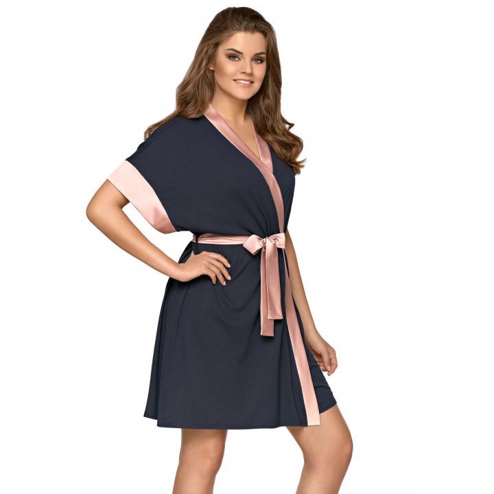 Женский короткий халат с атласной отделкой Babella Sabrina