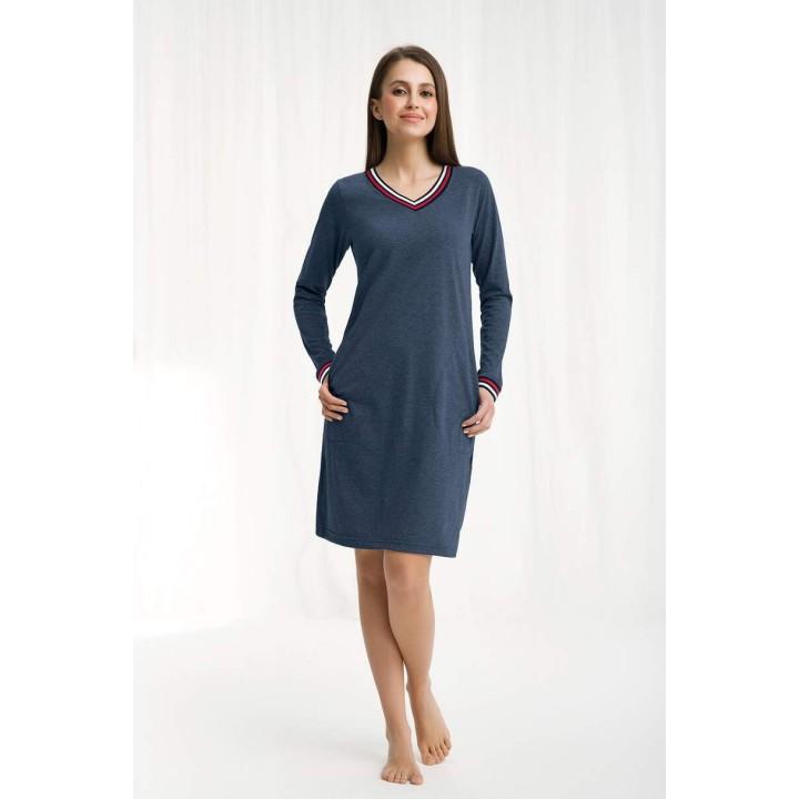 Женское домашнее платье/ ночная сорочка с карманами Luna 262