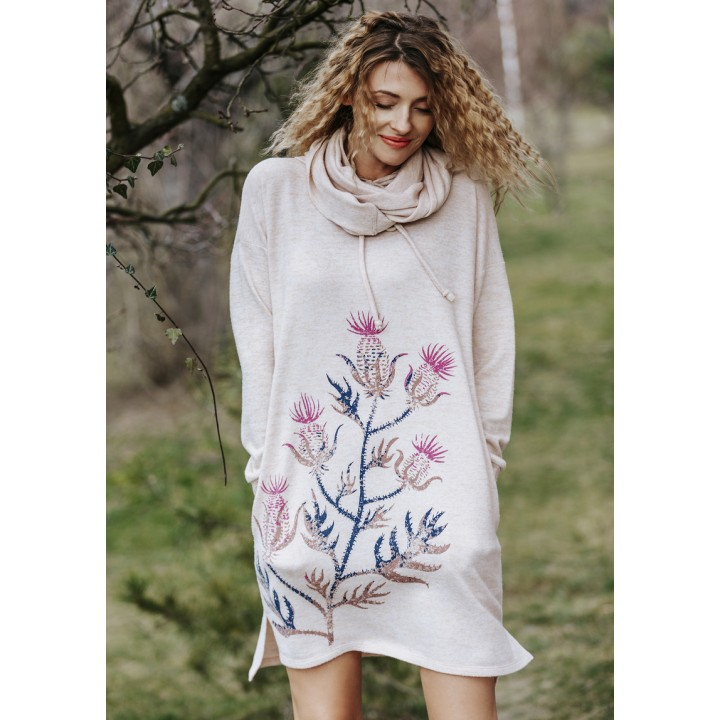 Женское уютное домашнее платье с капюшоном Key LHD 508 B19