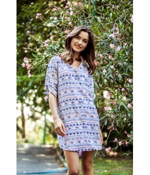 Женское домашнее платье / ночная рубашка на пуговицах Ключ LND 830 A8, вискоза