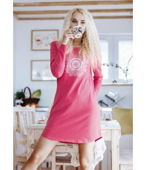 Женское домашнее платье/ ночная сорочка с длинным рукавом Key LND 082
